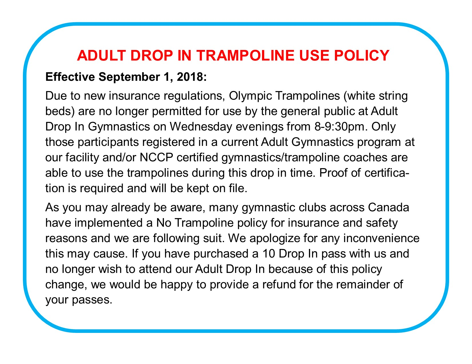 Adult Drop In Trampoline Policy Change